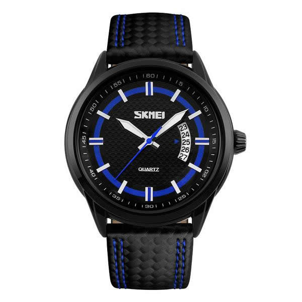 SKMEI The Blue Hypnotist 50M Leather Strap Casual Watch