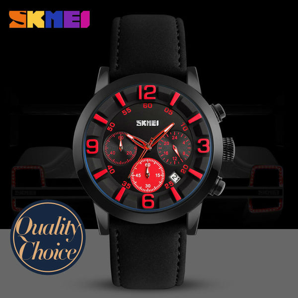 SKMEI Top Luxury Leather Quartz Multifunction Business Watch with Functional Subdials