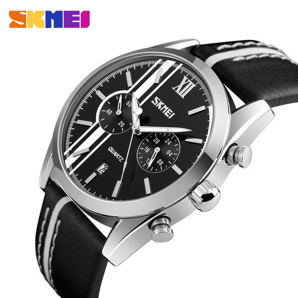 SKMEI The Racer - Men's Leather Strap Quartz Watch with Functional Subdials