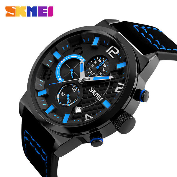 SKMEI Leather Band Luxury Business Quartz Sports Watch with Functional Subdials