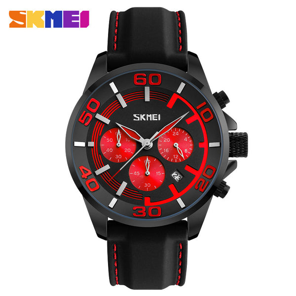SKMEI Men's Silicone Strap Quartz Wristwatch with Functional Subdials