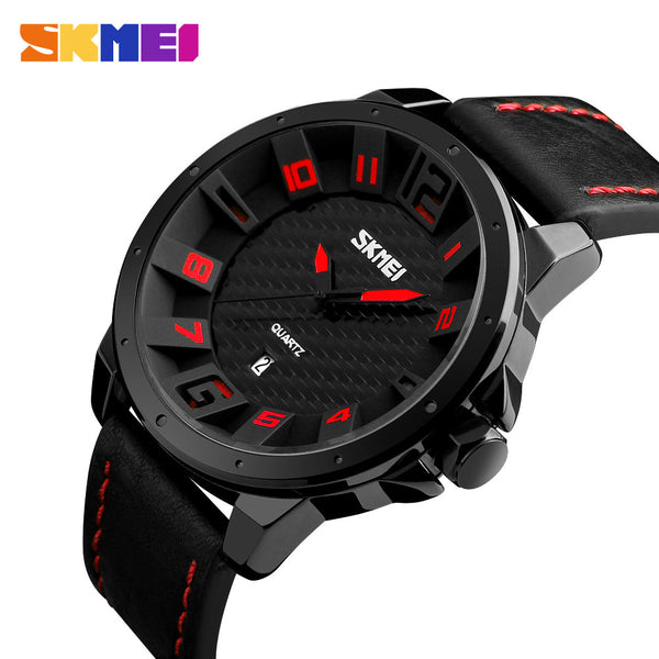 SKMEI Quartz Genuine Leather Analog Watch