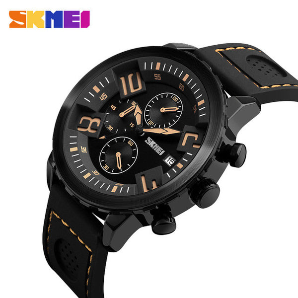 SKMEI Luxury Style Quartz Silicone Sports Watch with Functional Subdials