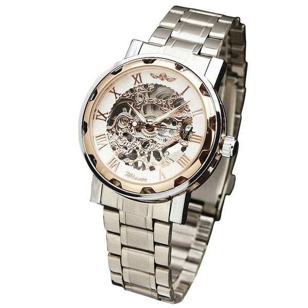 WINNER Golden Watches Men Skeleton Mechanical Watch Stainless Steel