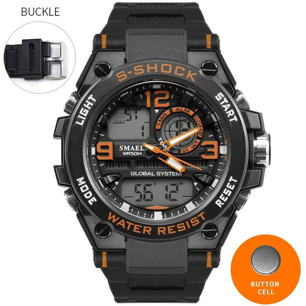 SMAEL Luxuly Men's Wrist Watch Gold Digital Watch Man Waterproof 50m LED Clock Man 1603 Digital Watch Man Sport Watch Shock
