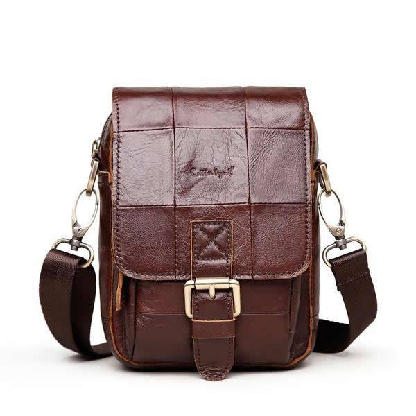 Vintage Style Genuine Cowhide Leather Crossbody Messenger Bag