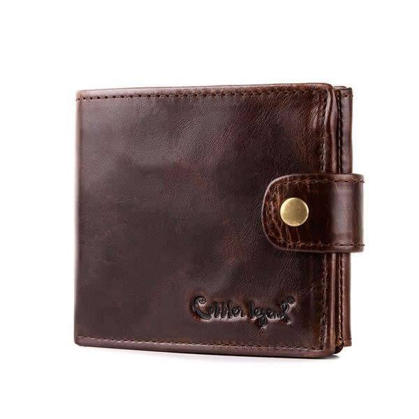 Cowhide Leather Bifold Clutch Short Wallet