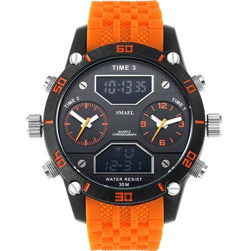 Sport Watch - Big Men's Triple Time Display LED Sports Watch