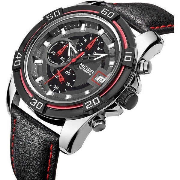 Sport Watch - MEGIR Luxury Leather Strap Chronograph Military Sports Watch With Subdials