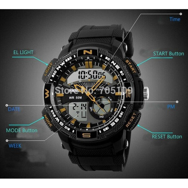 Sport Watch - SKMEI Military Style Army LED Rubber Strap Sports Watch