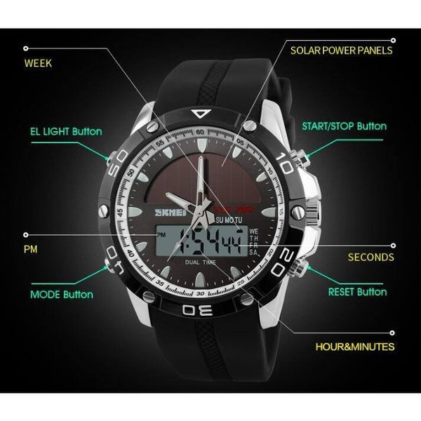 Sport Watch - SKMEI Solar Dual Time Zone Digital LED Sports Watch