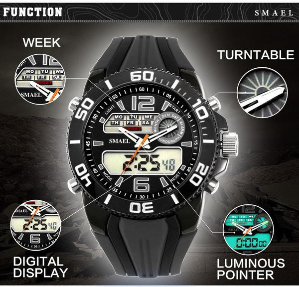 Sport Watch - SMAEL Dual Display 30M WR LED Military Sports Watch