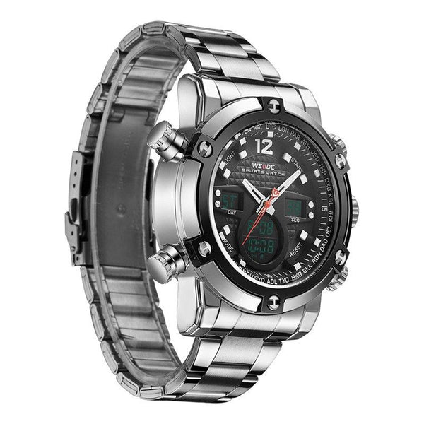 Sport Watch - WEIDE Dual Time Zone LCD Digital And Analog Steel Watch