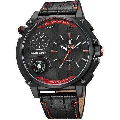 Sport Watch - WEIDE Luxury Leather Watch With Compass And Dual Time Zones