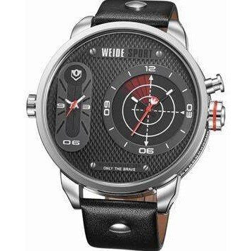 Sport Watch - WEIDE Oversize Leather Two Time Zone Sports Watch