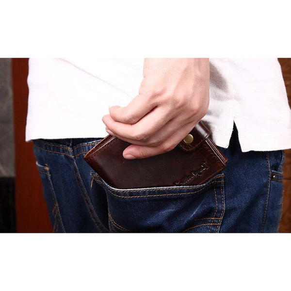 Wallet - Cowhide Leather Bifold Clutch Short Wallet