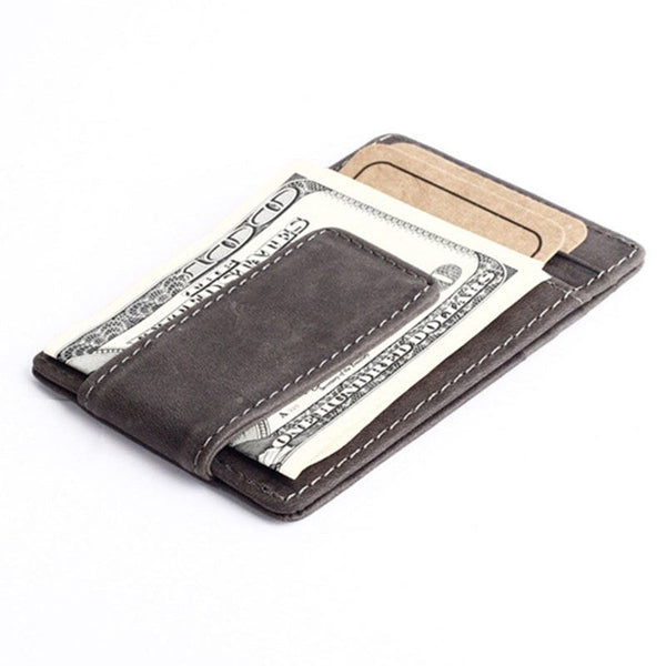 Wallet - Vintage Style Leather Money Holder With Clip