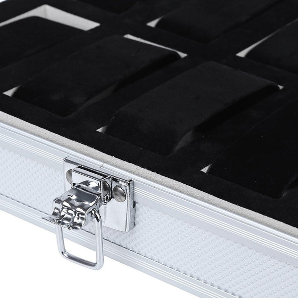 Watch Case - Aluminum Watch Display Box - 10 Compartments