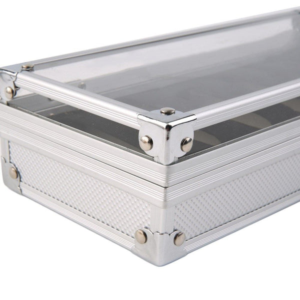 Watch Case - Aluminum Watch Display Box - 6 Compartments
