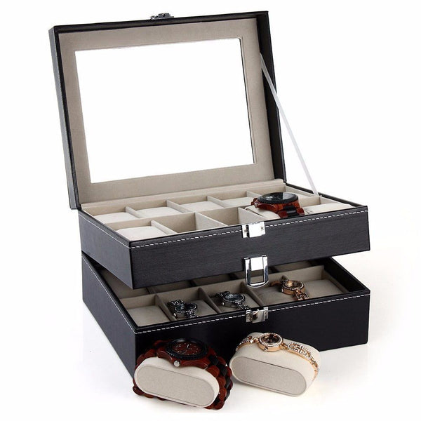Watch Case - PU Leather Watch Display Box - 20 Compartments
