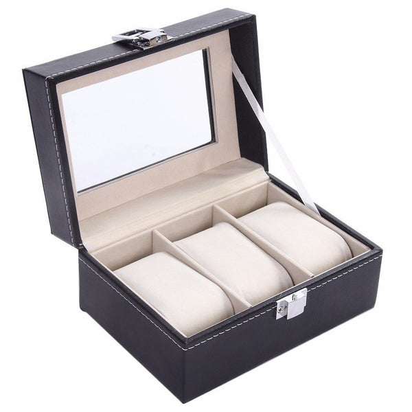 Watch Case - PU Leather Watch Display Box - 3 Compartments