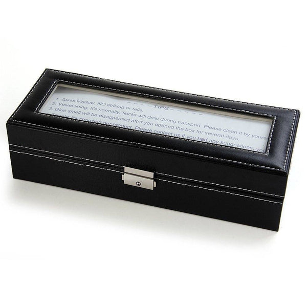 Watch Case - PU Leather Watch Display Box - 6 Compartments