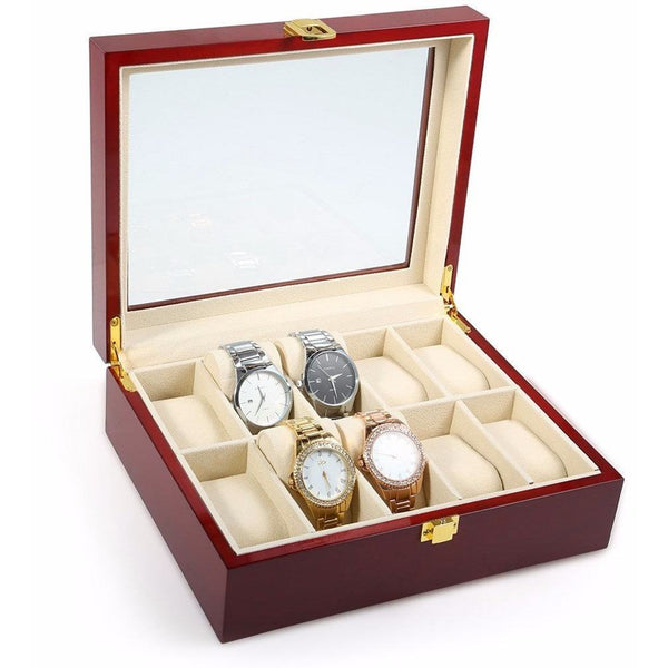 Watch Case - Wooden Watch Display Box - 10 Compartments