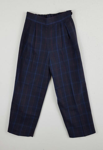Girls Slacks Navy Check
