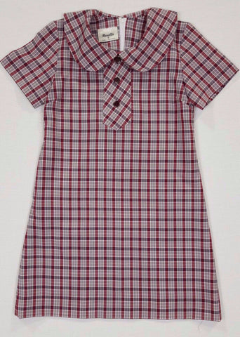Summer Maroon Check Dress