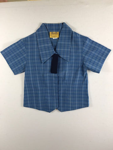 Short Sleeve Blue Check Blouse