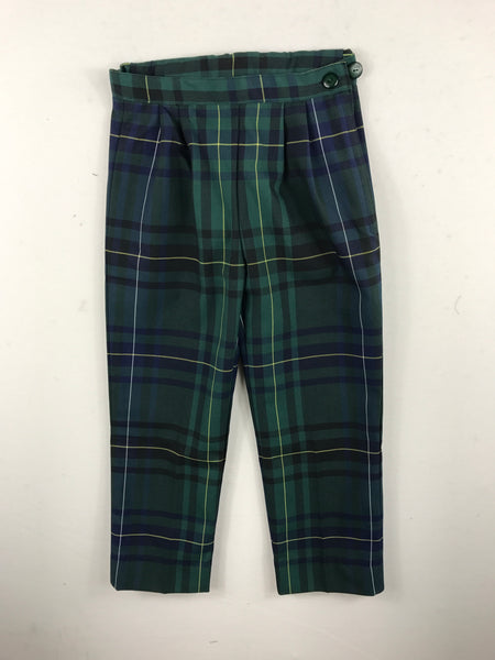 Girls Slacks Green Check