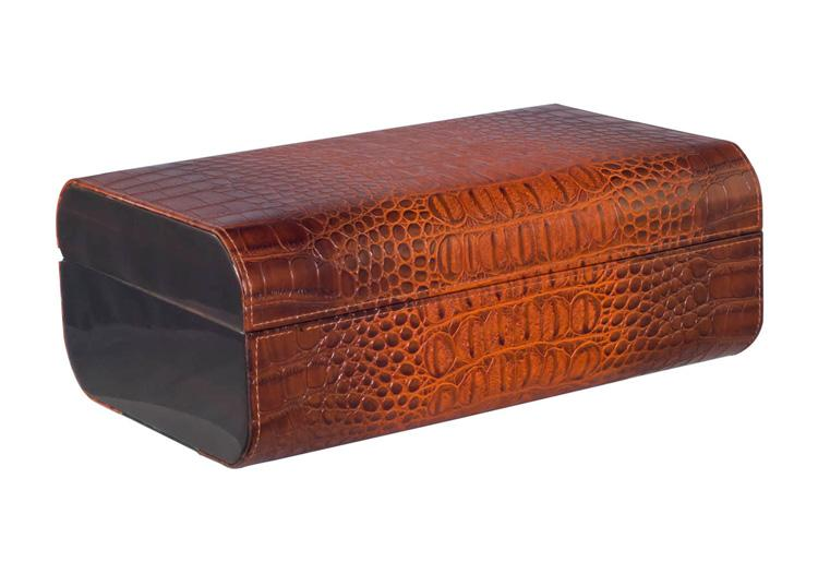 Visol Brown Crocodile Leather Cigar Humidor