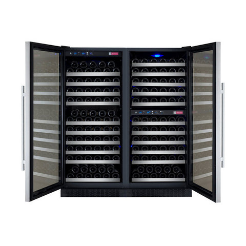 Allavino 249 Bottle Three Zone Stainless Steel Side-by-Side Wine Refrigerator
