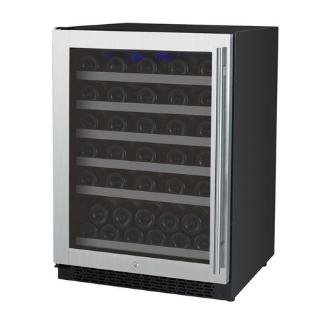Allavino 56 Bottle Single Zone Stainless Steel Left Hinge Wine Refrigerator