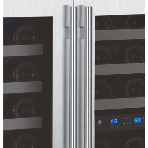 Allavino 112 Bottle Three Zone Stainless Steel Side-by-Side Wine Refrigerator