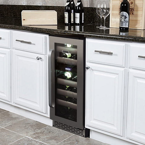Whynter Elite 17 Bottle Seamless Stainless Steel Door Dual Zone Built-in Wine Refrigerator