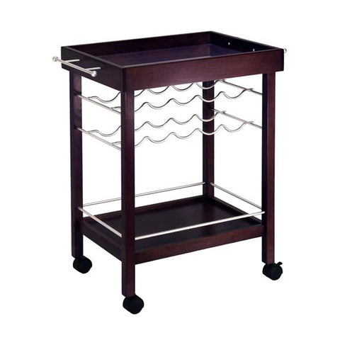 Winsome Johnnie Bar Cart, Mirror Top, wine rack