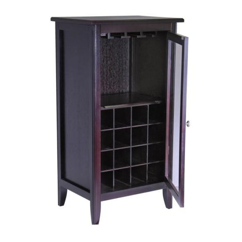 Winsome Ryan Wine Cabinet 16-Bottle, Glass Rack, One Door