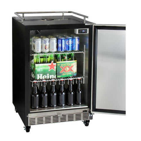 Kegco HK38BSC-L-2 Dual Faucet Digital Commercial Undercounter Kegerator with X-CLUSIVE Premium Direct Draw Kit - Left Hinge