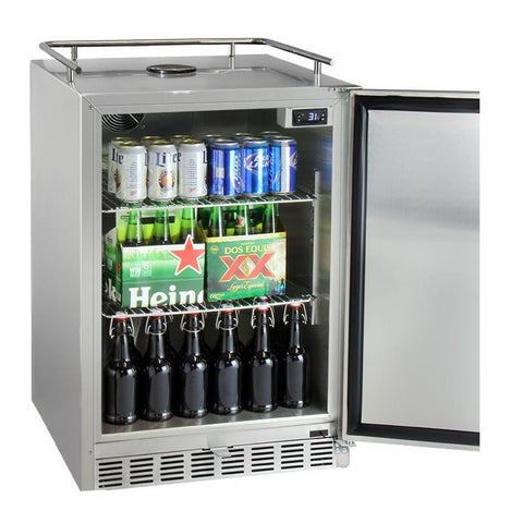 Kegco HK38SSU-L-2 Dual Tap Digital Outdoor Undercounter Kegerator with X-CLUSIVE Premium Direct Draw Kit - Left Hinge