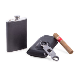 Bey-Berk, Bey-Berk 3 Piece Black Leather Flask (8 oz),  Case & Cutter Set, Gift Set - Humidor Enthusiast