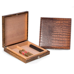 Bey-Berk, Bey-Berk Brown Croco Leather Travel Humidor, Humidor - Humidor Enthusiast