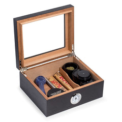 Bey-Berk Tobacco Espresso Wood Humidor - 3 Canisters