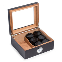Bey-Berk Tobacco Espresso Wood Humidor - 6 Canisters