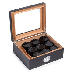 Bey-Berk Tobacco Espresso Wood Humidor - 9 Canisters