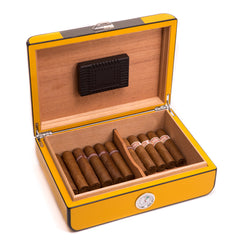 Bey-Berk Carbon Fiber & Yellow Lacquered Humidor