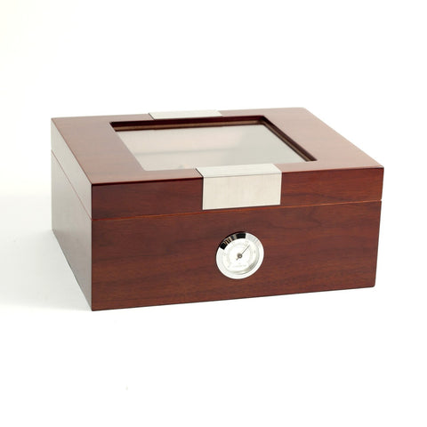 Bey-Berk, Bey-Berk Cedar Lined Glass Top Walnut 60 Humidor, Humidor - Humidor Enthusiast