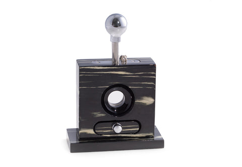 Bey-Berk Lacquered Ebony Wood and Stainless Steel Table Top Guillotine Cigar Cutter