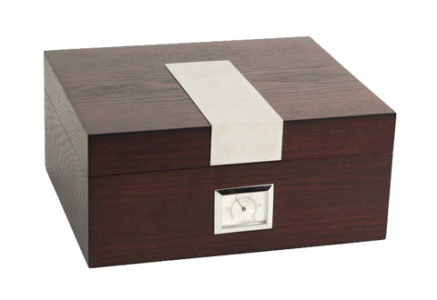 Photo of the closed angled Bey-Berk Espresso Wood Cigar Humidor - 50 Cigars C412