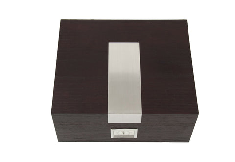 Photo of the closed front Bey-Berk Espresso Wood Cigar Humidor - 50 Cigars C412